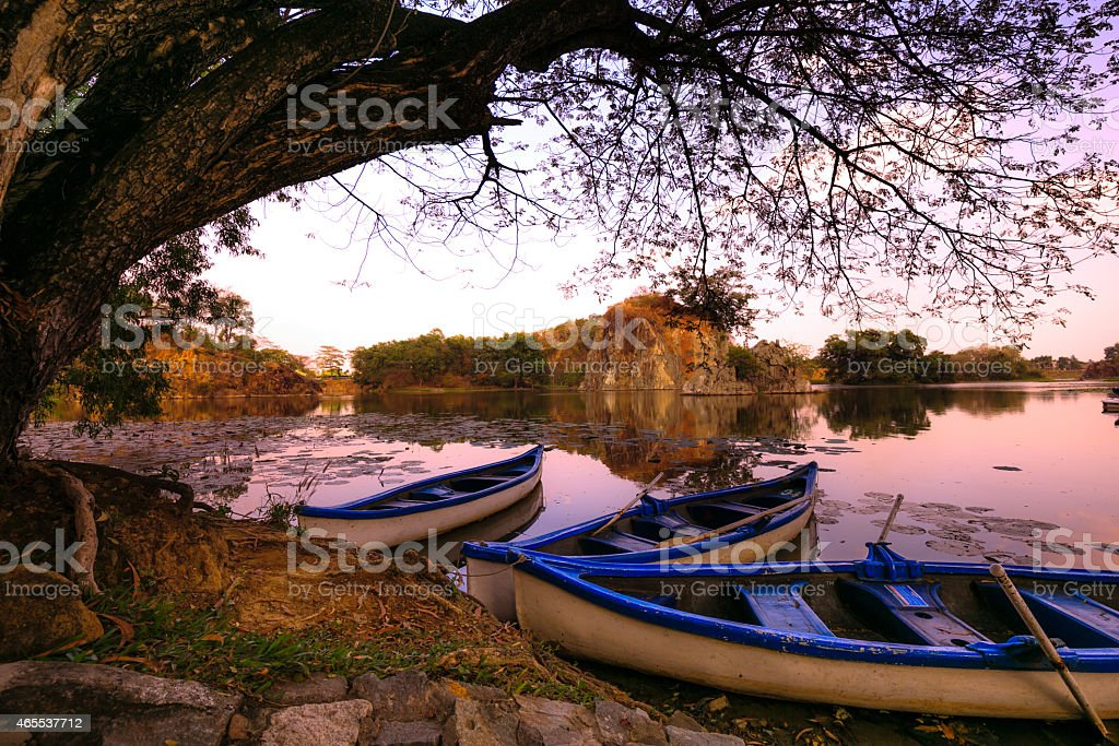 The boat on the lake in resort stock photo
