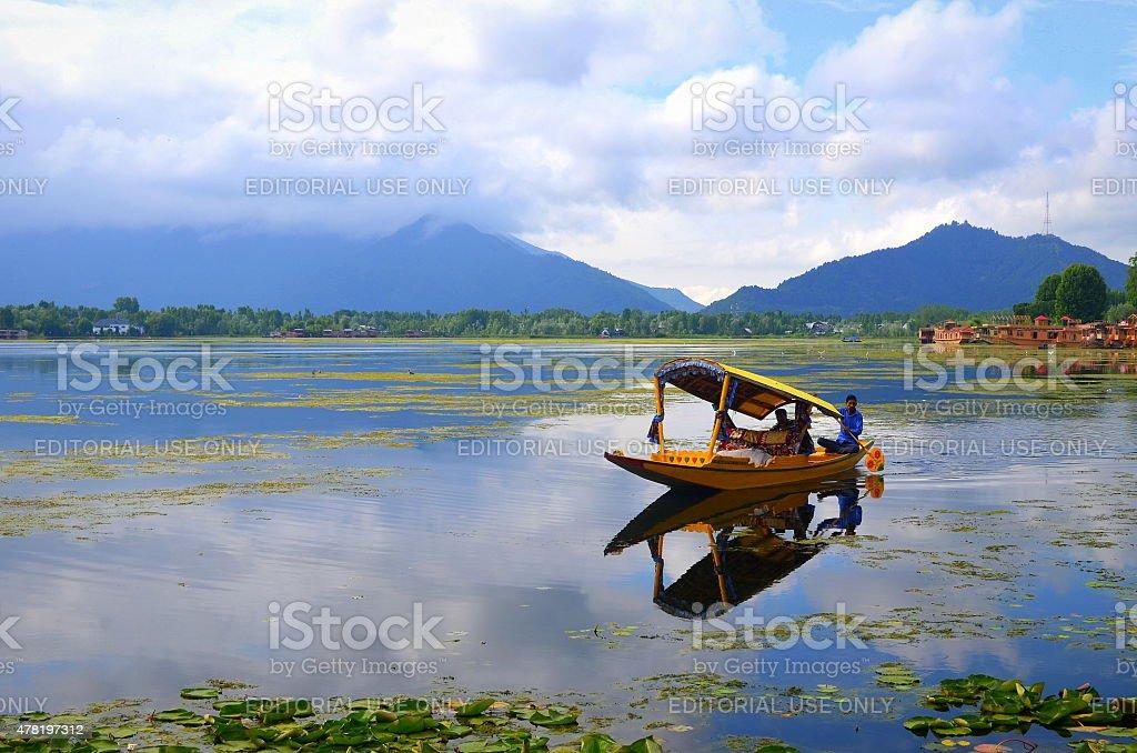 The boatman on Nagin lake stock photo