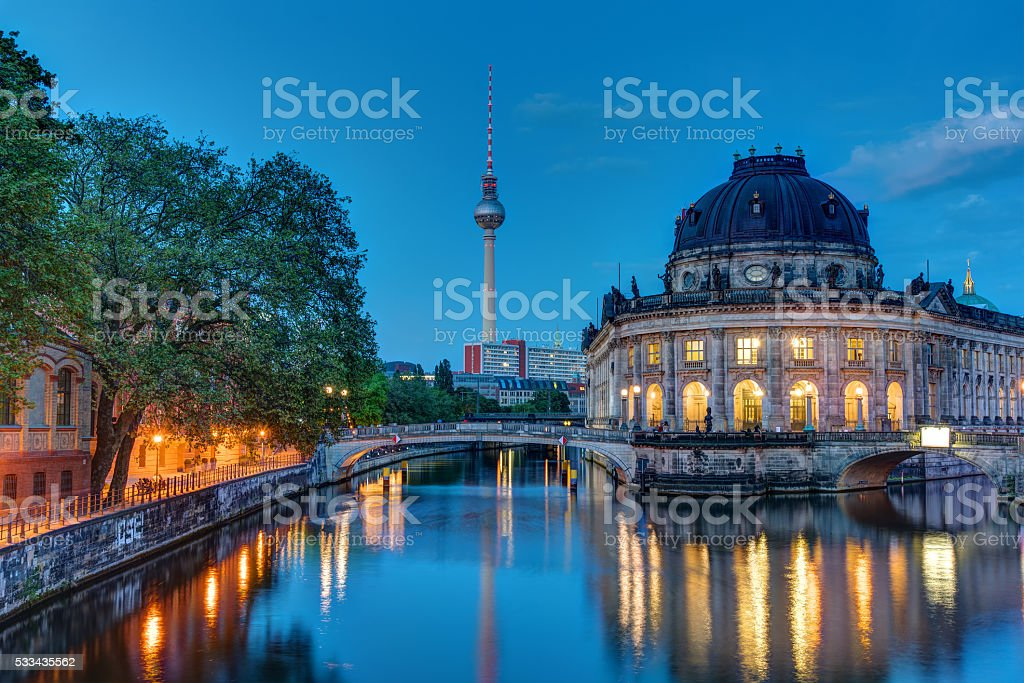 The Bodemuseum in Berlin at dawn stock photo