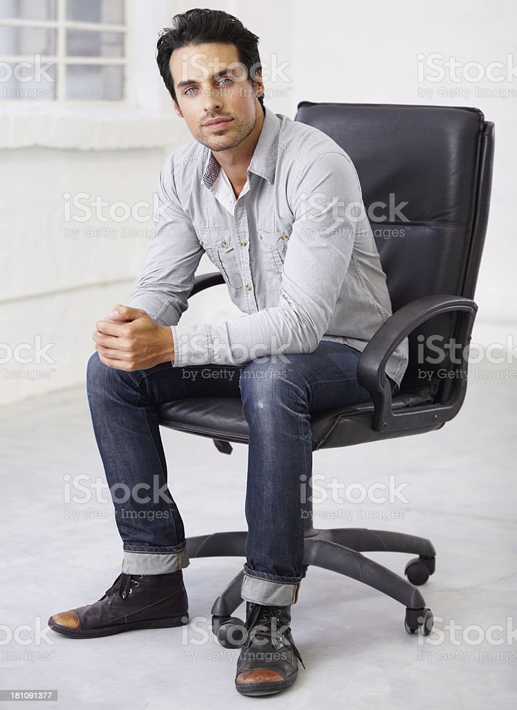The body language of someone in charge stock photo