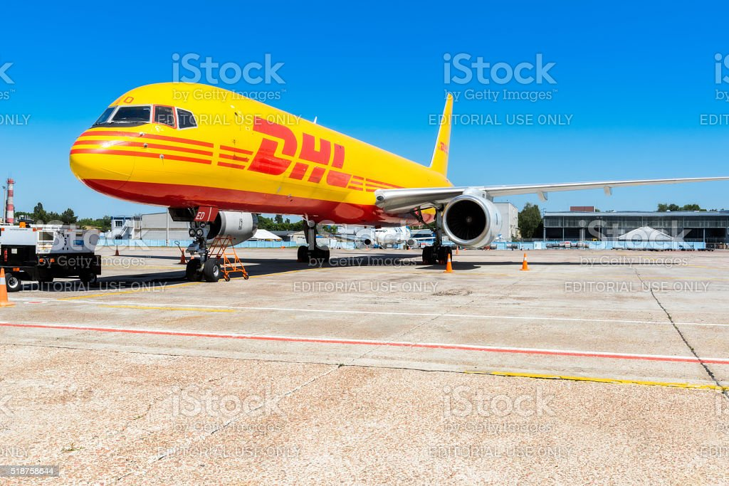 The Boeing 757-200 to transport cargo company DHL stock photo