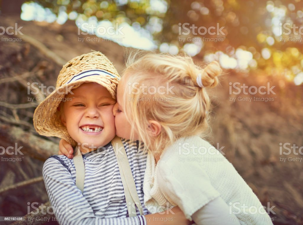 The bond between siblings is an unbreakable one stock photo