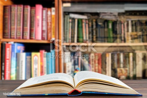 The book is open on the desk, a blurry background of the library