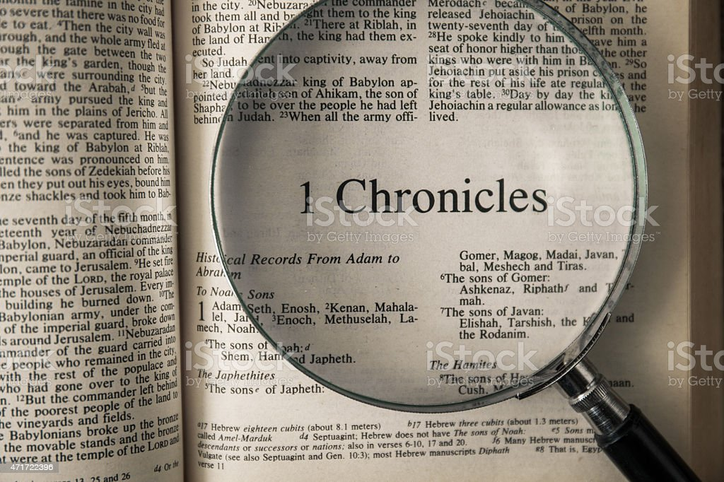 the book of 1 chronicles Reading The New International Version stock photo