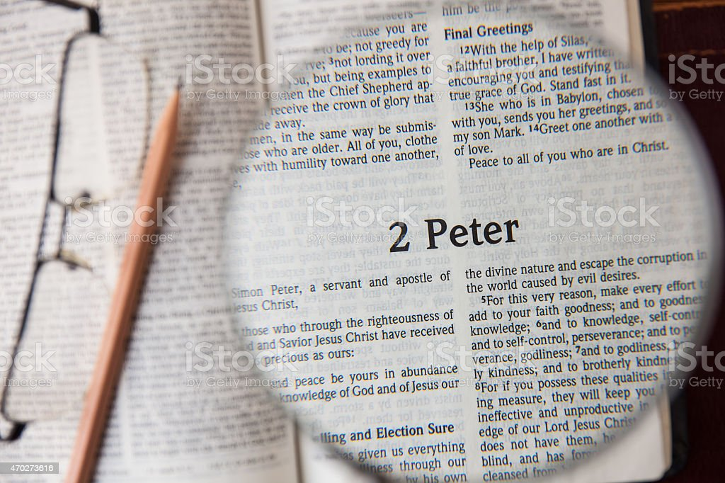 the book of 2 peter Reading The New International Version stock photo