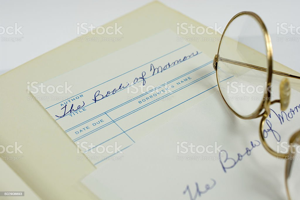 The Book of Mormon in Library stock photo