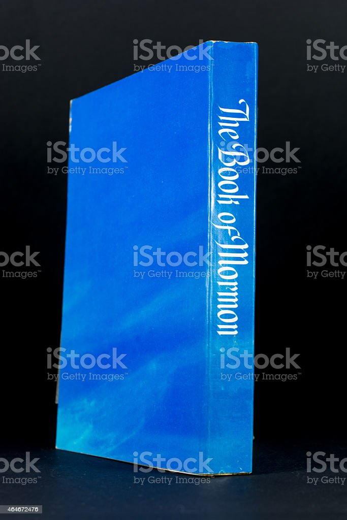 The Book of Mormon on Black Background stock photo