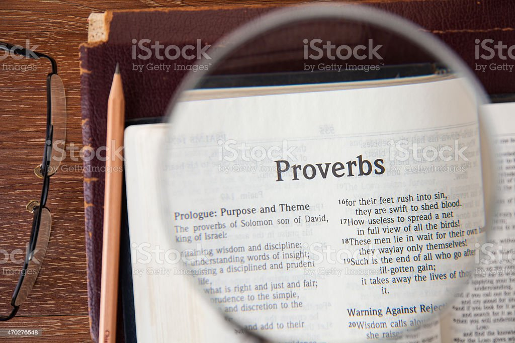 the book of Proverbs Reading The New International Version stock photo