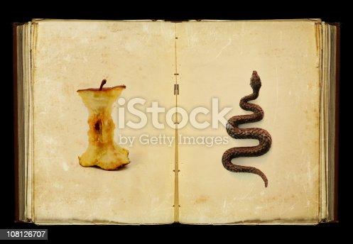 an open book showing an eaten apple and a snake, my interpretation of the original sin