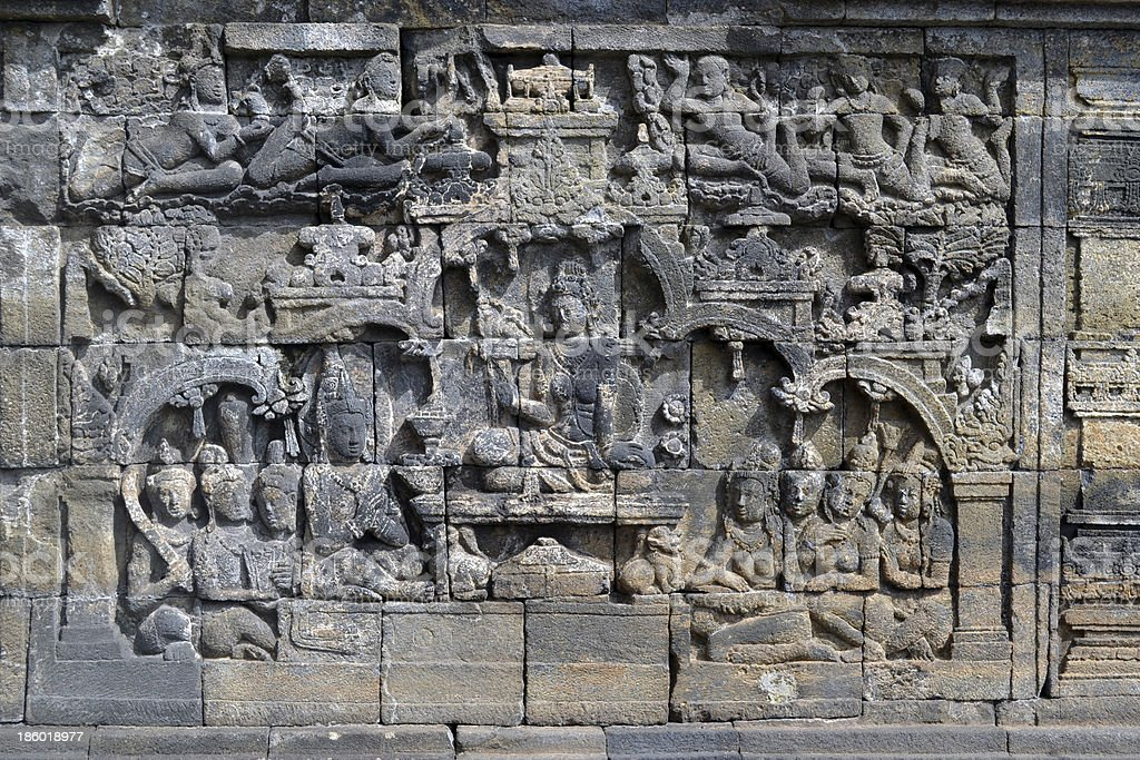 The Borobudur Temple Wall Relief royalty-free stock photo