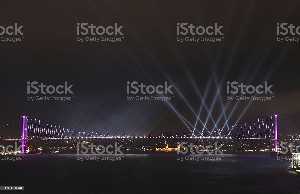 The Bosphorus Bridge at Turkey Republic Day royalty-free stock photo