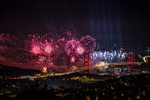 The Celebration of Turkish Republic Day with laser beams in Istanbul at October 29th