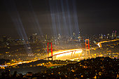 The Celebration of Turkish Republic Day with laser beams in Istanbu