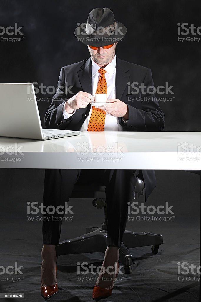 The boss and his beautiful orange secret royalty-free stock photo
