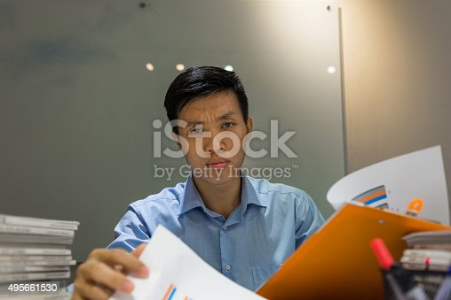 istock The boss feeling upset about his employee's performance 495661530