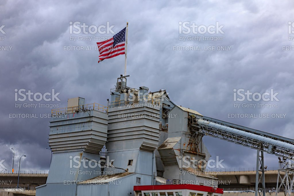 The Boston Sand And Gravel Company In Downtown Boston, Massachusetts, In The USA; Storm Clouds In The Background. No People stock photo