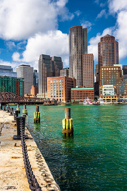 The Boston Skyline, seen from Fort Point. stock photo