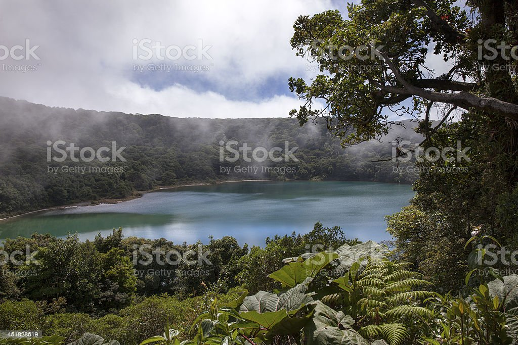 The Botos volcanic lagoon in Poas volcano of Costa Rica stock photo