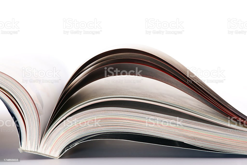 The bottom of an open catalog or book stock photo