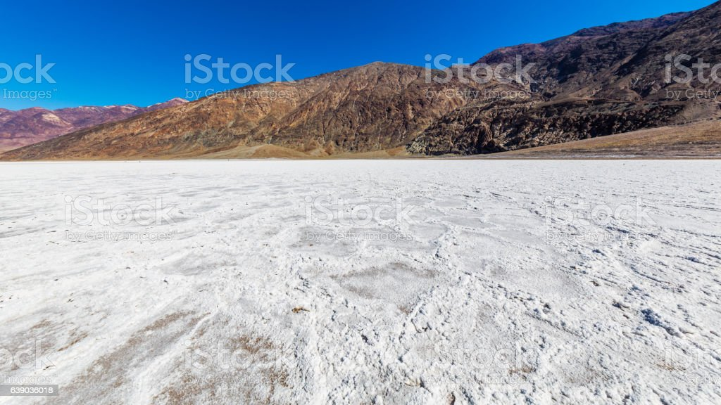 The bottom of the dried-up salt sea. stock photo