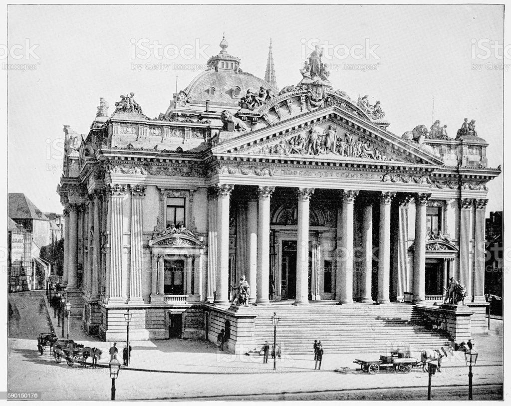 The Bourse, Brussel, Belgium in 1880s - Photo