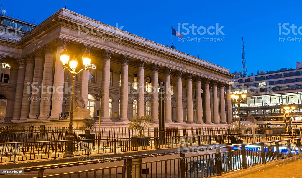The Bourse of Paris-Brongniart palace at night, France. - Photo