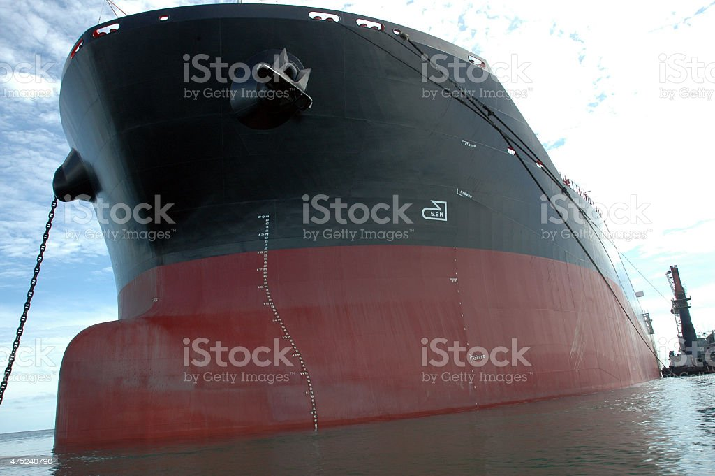 the bow of a big tanker ship stock photo