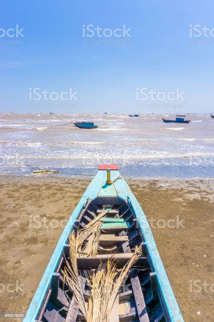 The Bow ship to sea stock photo