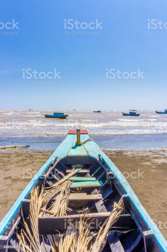 The Bow ship to the sea stock photo
