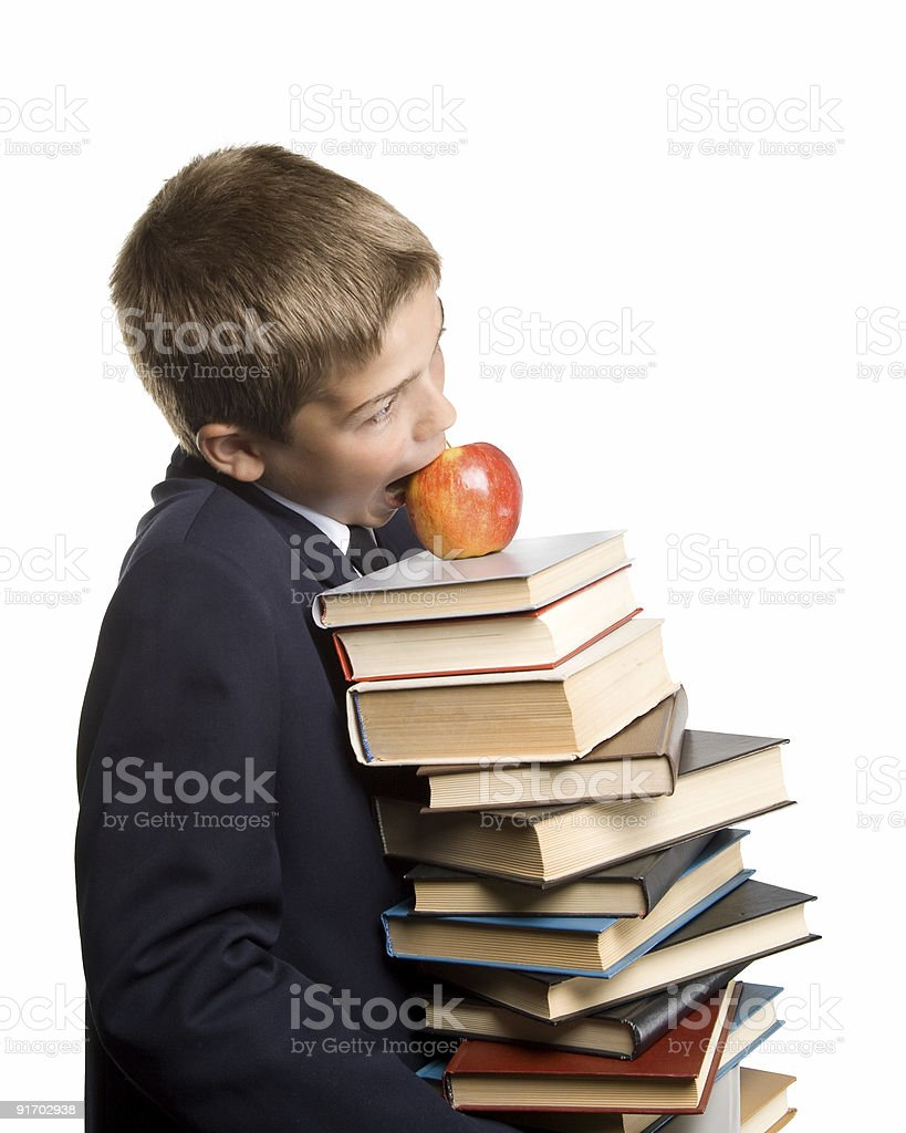 The boy and a pile of books royalty-free stock photo