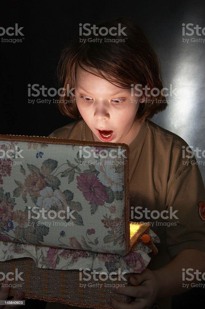 The boy and treasures stock photo