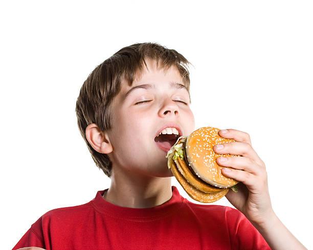 The boy eating a hamburger. stock photo