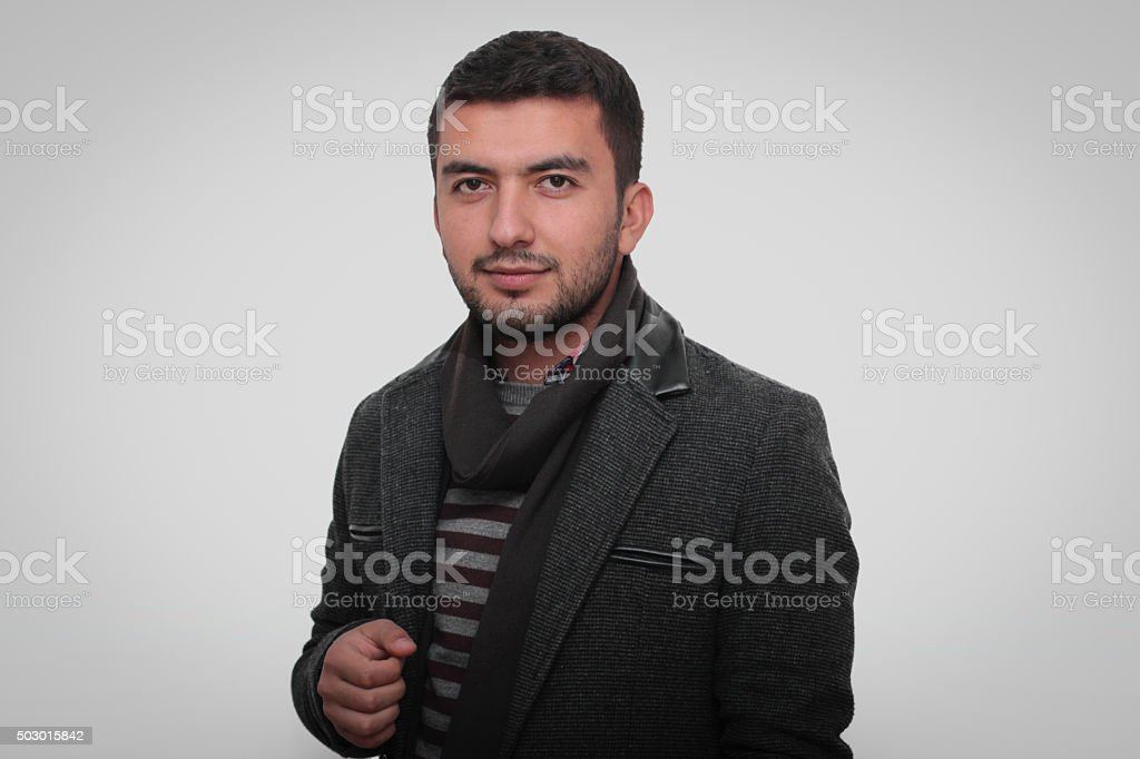 The boy looking at camera stock photo