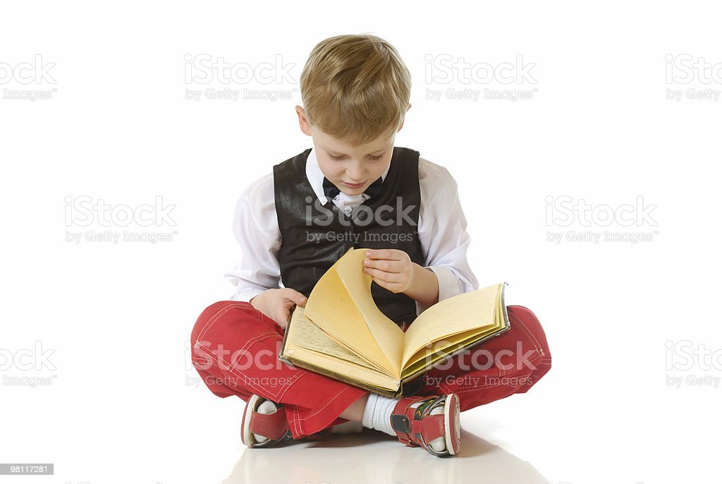 The boy reads book royalty-free stock photo