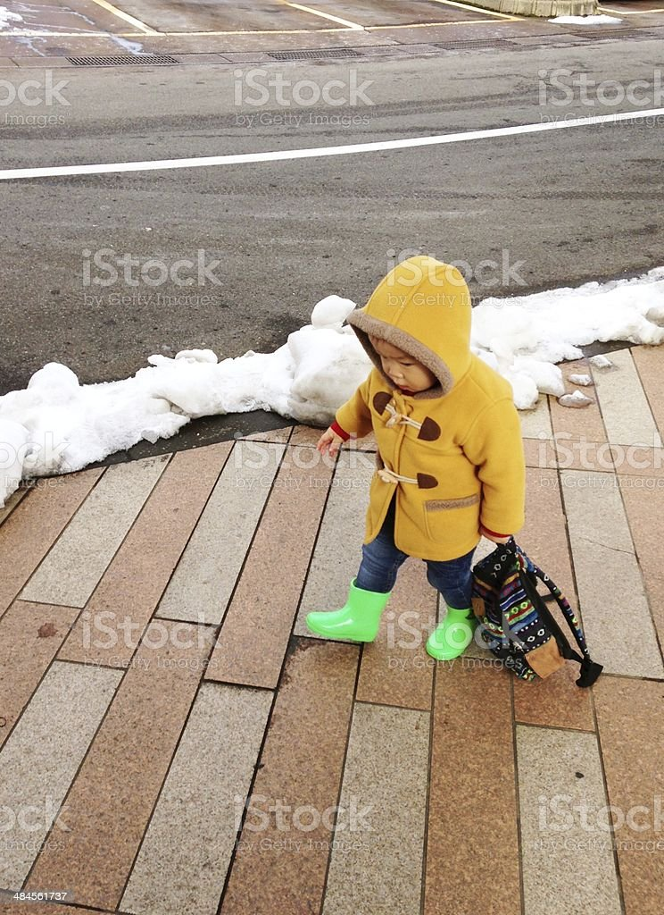 The boy who goes to whose mother's parents' home back royalty-free stock photo