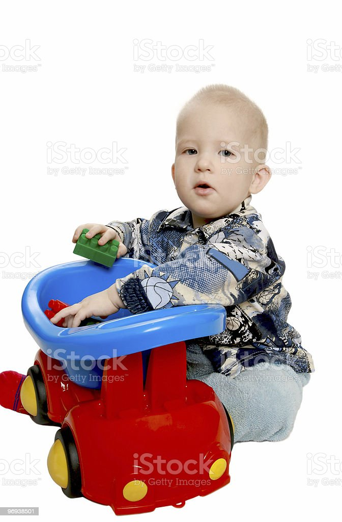 The boy with toy machine royalty-free stock photo