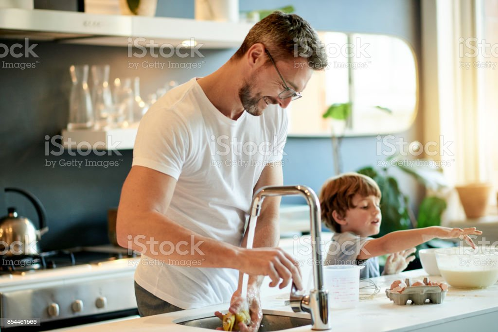 The boys are bonding stock photo