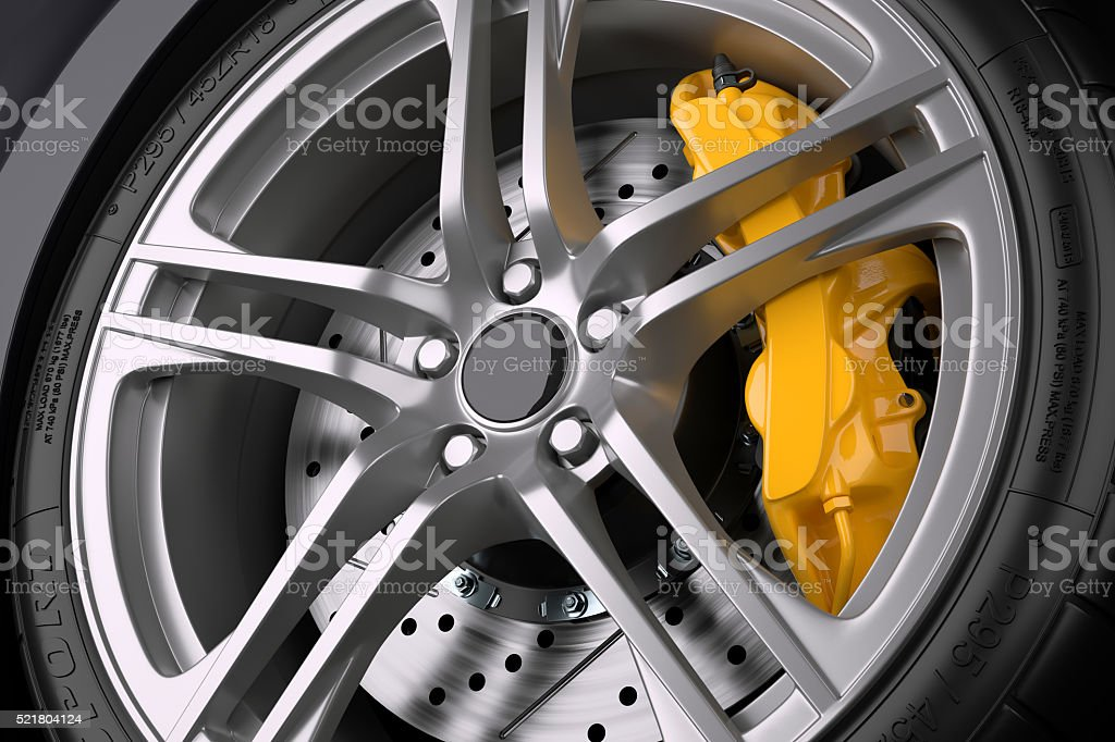 The brake system of a sport car. stock photo