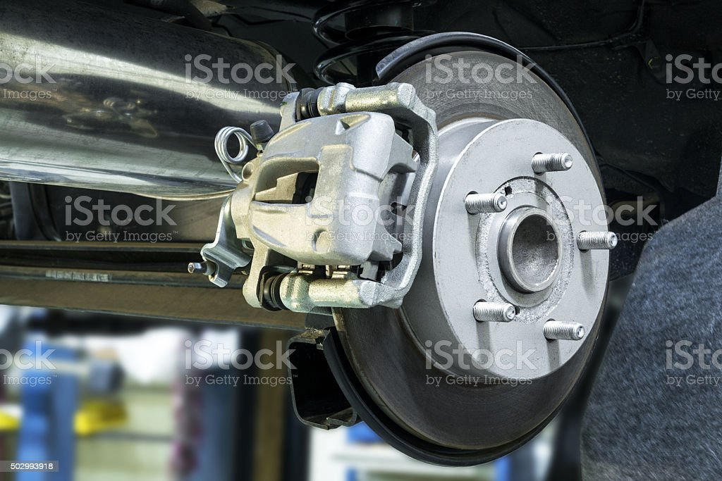 The brake system of a vehicle stock photo