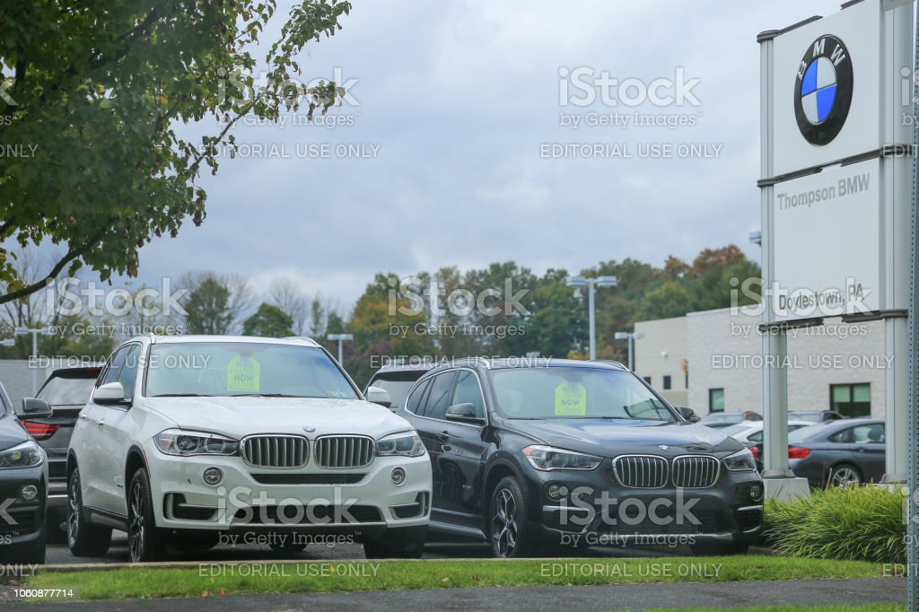 the brand 'BMW' at a new car dealer building in Philadelphia stock photo