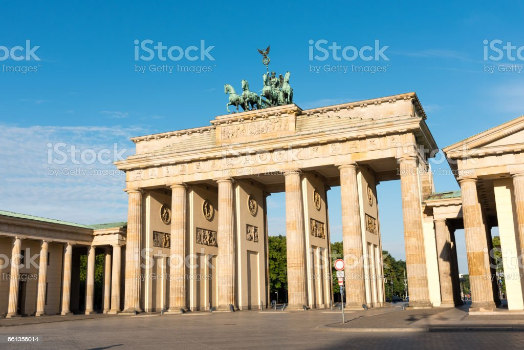 The Brandenburger Tor in Berlin on a sunny day stock photo