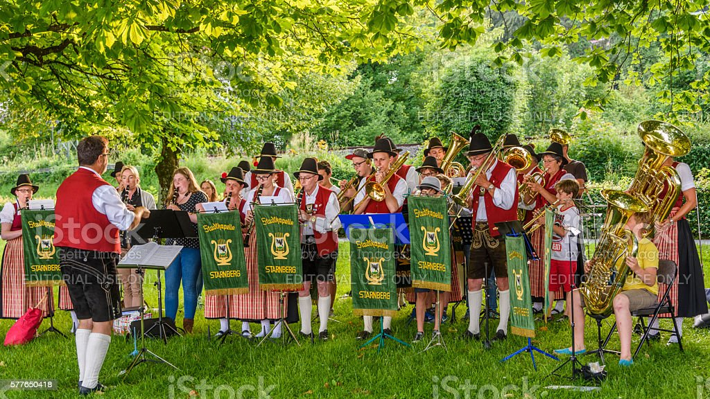The brass band of Starnberg in germany stock photo