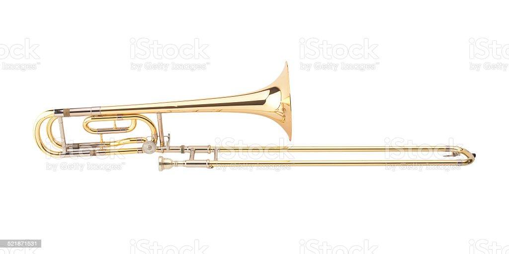 The brass trombone stock photo