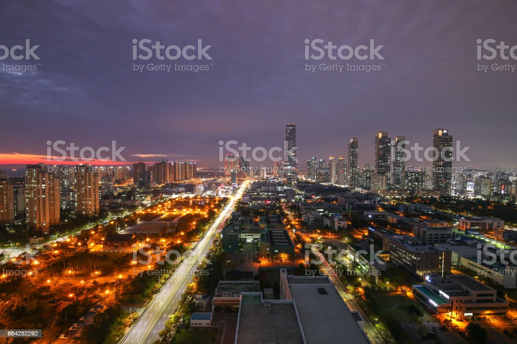 The Brave Night of New Songdo City royalty-free stock photo