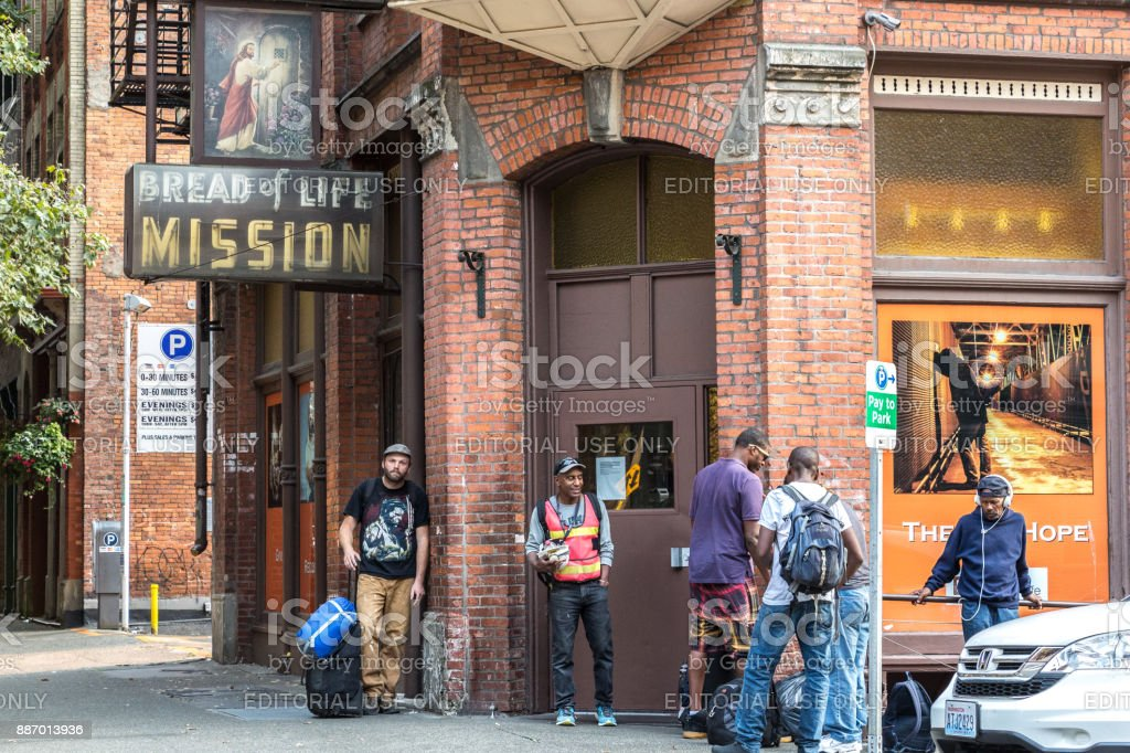The Bread of Life Mission in Seattle. stock photo