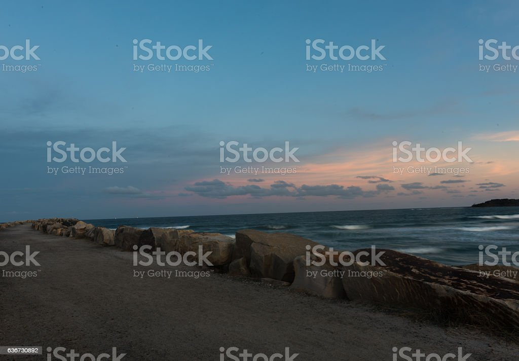 The Break Wall at Turner's Beach in Yamba, Australia stock photo