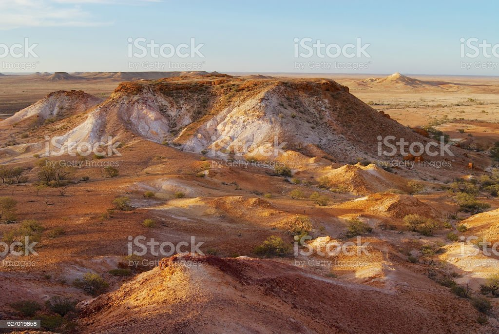The Breakaways reserve near Coober Pedy at sunset in South Australia, Australia. stock photo