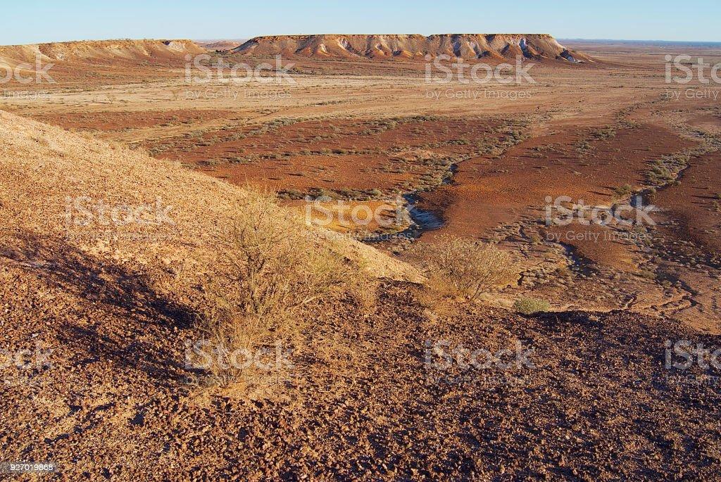 The Breakaways reserve near Coober Pedy in South Australia, Australia. stock photo