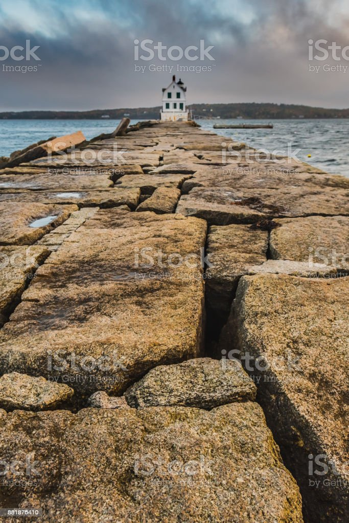 The Breakwater at Rockland Harbor stock photo
