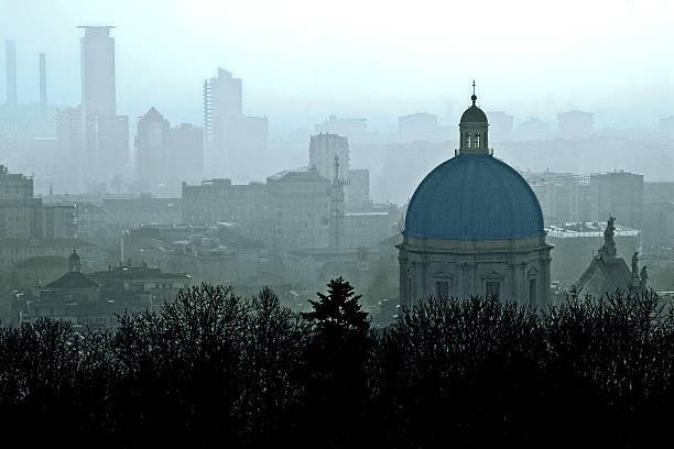 The Brescia view from the Cidneo hill stock photo